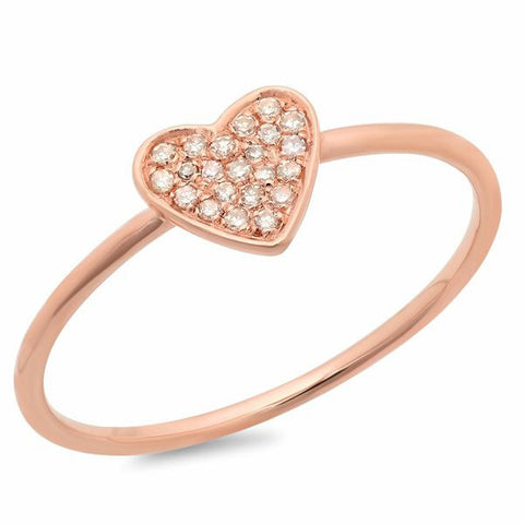 delicate pave heart diamond ring 14K rose gold sachi jewelry