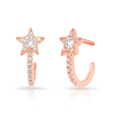 14K gold diamond star stud loop earrings sachi fine jewelry