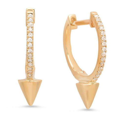 spike huggies edgy earrings diamond 14K yellow gold sachi jewelry
