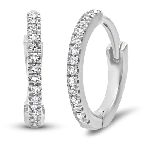 mini classic diamond huggies earrings 14K white gold sachi fine jewelry