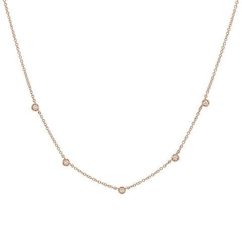 5 diamond station14K solid gold delicate dainty sachi necklace