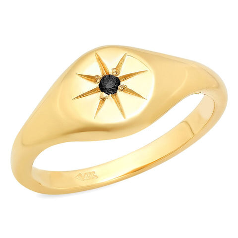 star pinky black diamond signet ring 14K yellow gold sachi jewelry