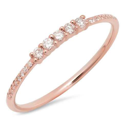 5 diamond prong ring 14K rose gold delicate dainty sachi fine jewelry