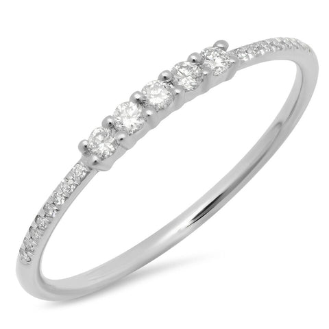 5 diamond prong ring 14K white gold delicate dainty sachi fine jewelry