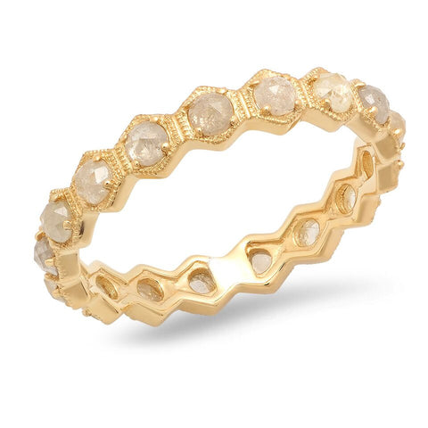 Rose Cut Diamond Hexagon Eternity Ring