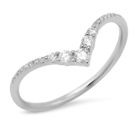 Sachi White Gold V Pronged Diamond Ring