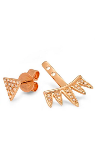 single triangle stud spike jacket diamond earrings 14K rose gold sachi jewelry