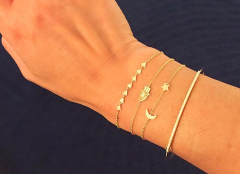 delicate dainty moon star diamond bracelet 14K gold sachi jewelry
