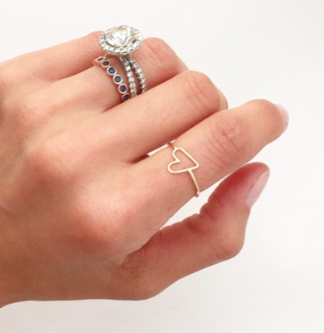 delicate dainty open heart outline ring 14K gold sachi jewelry