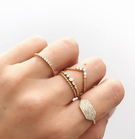 diamond beaded ring 14K stacking yellow gold sachi jewelry