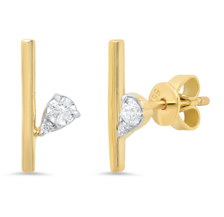 14K gold diamond pear branch bar studs sachi fine jewelry modern classic
