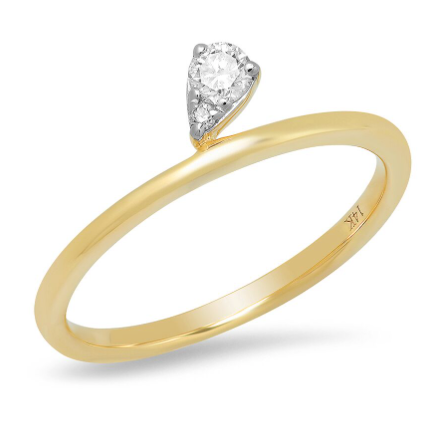 14k gold diamond classic simple ring band stacking