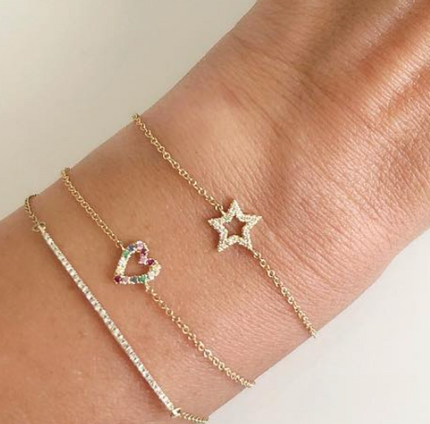 open diamond star bracelet 14K yellow gold sachi fine jewelry stacking