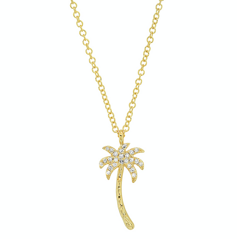 14K gold necklace sachi jewelry diamond palm tree pendant