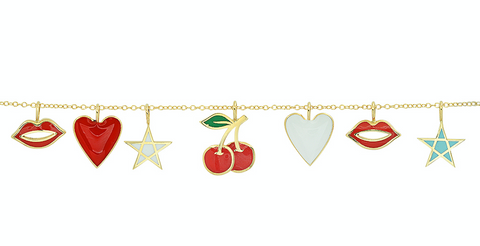 14K gold pendants sachi jewelry fun ceramic red lips heart star cherries