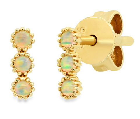14K gold opal dainty beaded earrings sachi jewelry