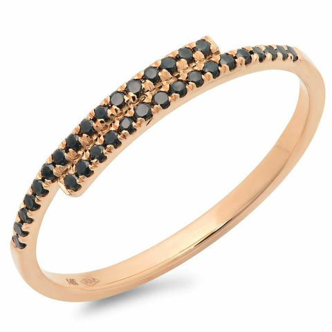 east west black stacking spiral diamond ring 14K rose gold sachi jewelry