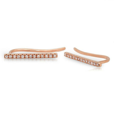 delicate dainty mini bar diamond crawlers 14K rose gold sachi jewelry