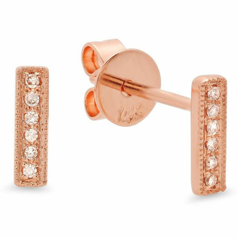 delicate dainty mini bar diamond studs earrings 14K rose gold sachi jewelry