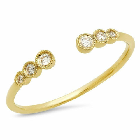 triple bezel cuff diamond ring 14K yellow gold sachi jewelry