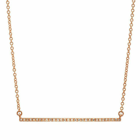 delicate dainty micro bar diamond necklace 14K rose gold sachi jewelry