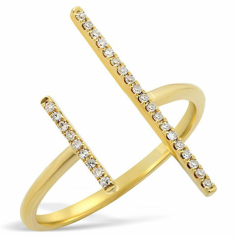 uneven bar diamond ring 14K yellow gold sachi jewelry