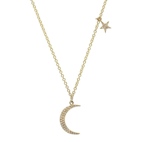 dainty delicate moon star diamond necklace 14K yellow gold sachi jewelry