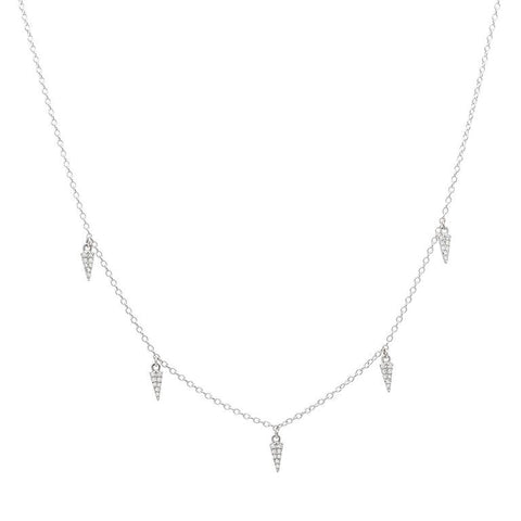 delicate dainty mini daggers drop diamond necklace 14K white gold sachi jewelry