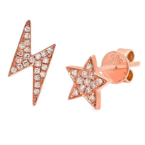 star lighting diamond studs earrings 14K rose gold sachi jewelry