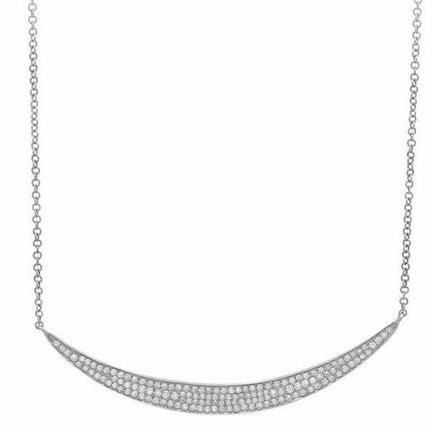 wide crescent diamond necklace 14K white gold sachi jewelry