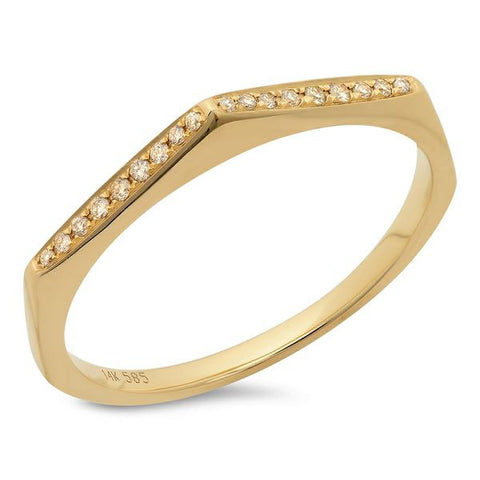 pointed stacking diamond ring 14K yellow gold sachi jewelry