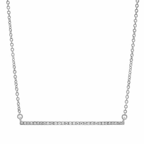 delicate dainty micro bar diamond necklace 14K white gold sachi jewelry