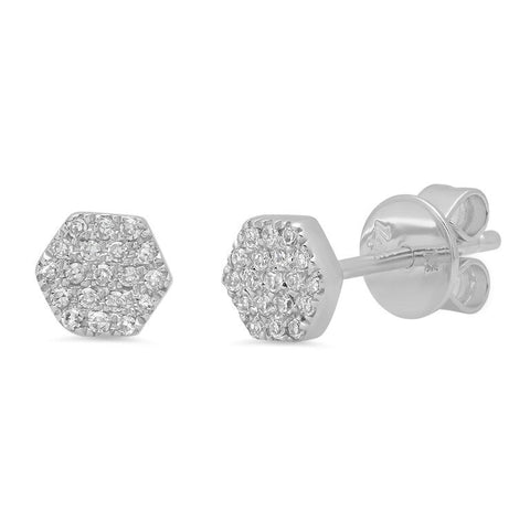 mini hexagon pave diamond studs earrings 14K white gold sachi jewelry