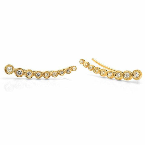 14K gold bezel ear crawler curved sachi fine jewelry hip edgy