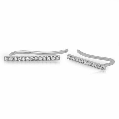 delicate dainty mini bar diamond crawlers 14K white gold sachi jewelry