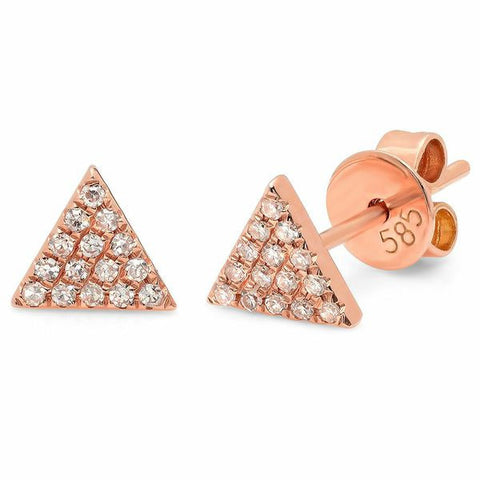 small triangle diamond studs earrings 14K rose gold sachi jewelry