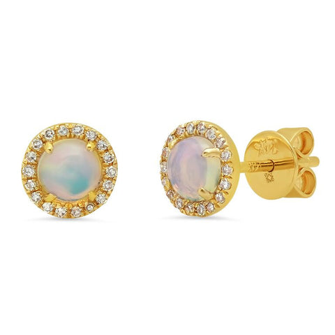 delicate opal round diamond studs earrings 14K yellow gold sachi jewelry
