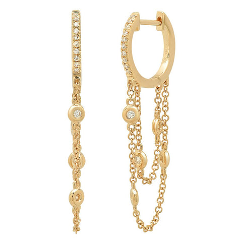 14K gold double chain diamond bezel loop earring sachi fine jewelry luxurious
