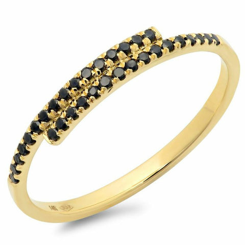 east west black stacking spiral diamond ring 14K yellow gold sachi jewelry