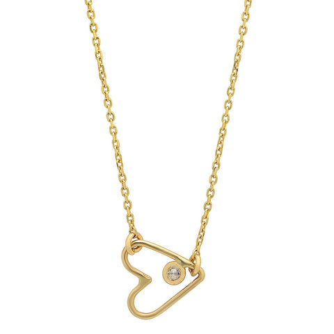 dainty delicate open heart diamond necklace 14K yellow gold sachi jewelry