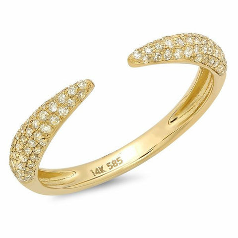 pointed claw diamond ring 14K yellow gold sachi jewelry