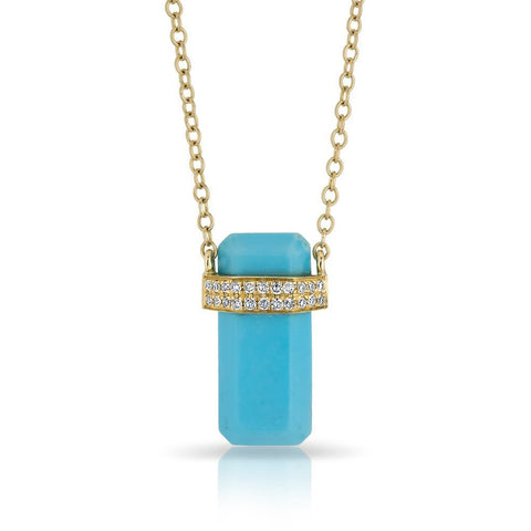 14K gold gemstone diamond turquoise charm adjustable diamond necklace sachi fine jewelry