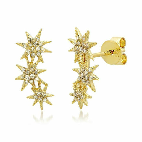 triple starburst diamond studs earrings 14K yellow gold sachi jewelry