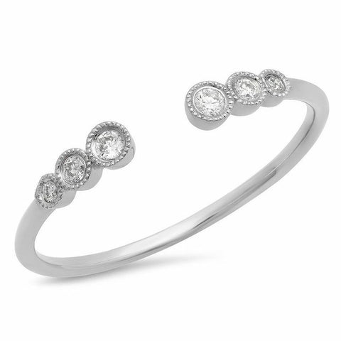 triple bezel cuff diamond ring 14K white gold sachi jewelry