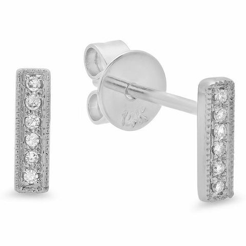 delicate dainty mini bar diamond studs earrings 14K white gold sachi jewelry