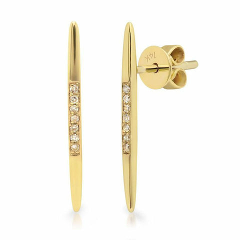 spear diamond studs earrings 14K yellow gold sachi jewelry