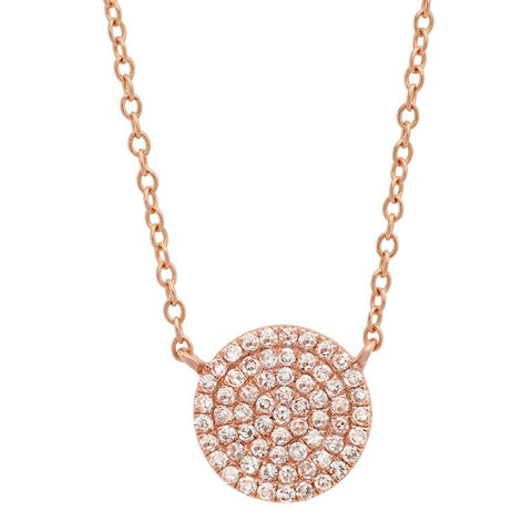 disc diamond station classic necklace 14K rose gold sachi jewelry