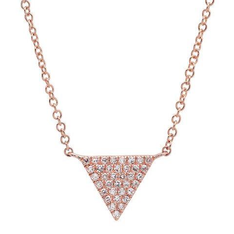 dainty triangle diamond necklace 14K rose gold sachi jewelry