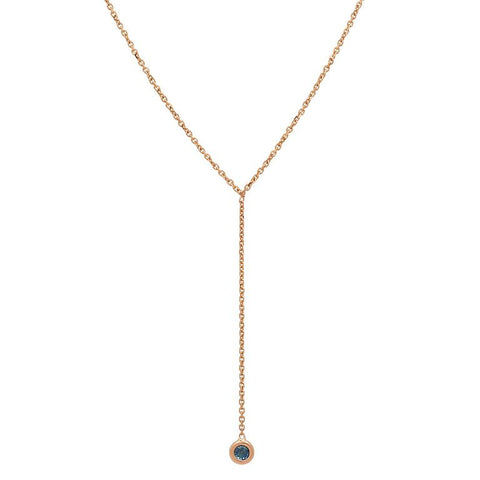 dainty delicate sapphire lariat necklace 14K yellow gold sachi jewelry