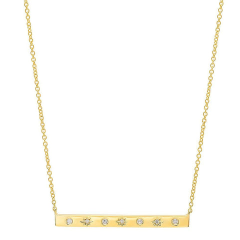 star studded diamond necklace 14K yellow gold sachi jewelry